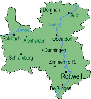 Landkreis Rottweil with some of the bigger villages and towns