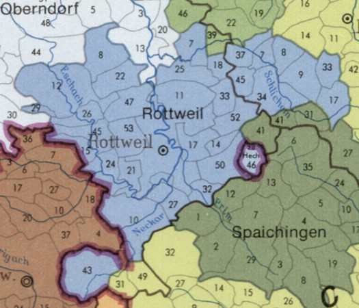 Oberamt Rottweil with its municipalities
