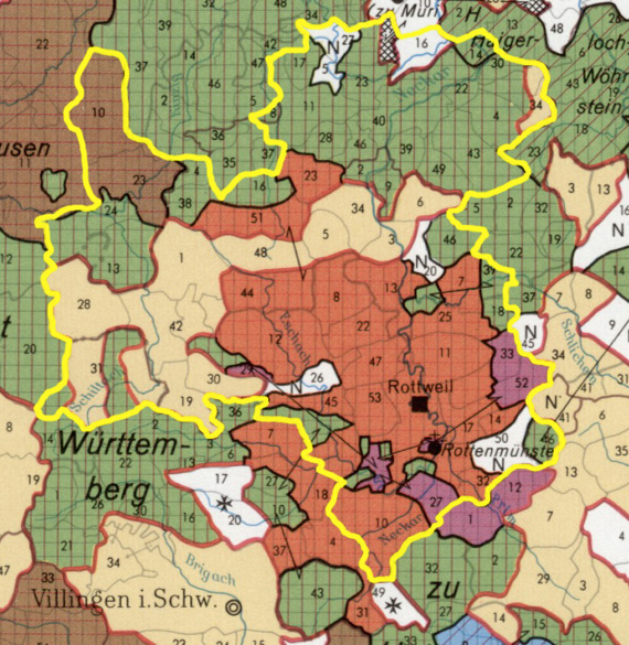 The territorial structure of the region till about 1800 combined with the border of the Landkreis Rottweil of today